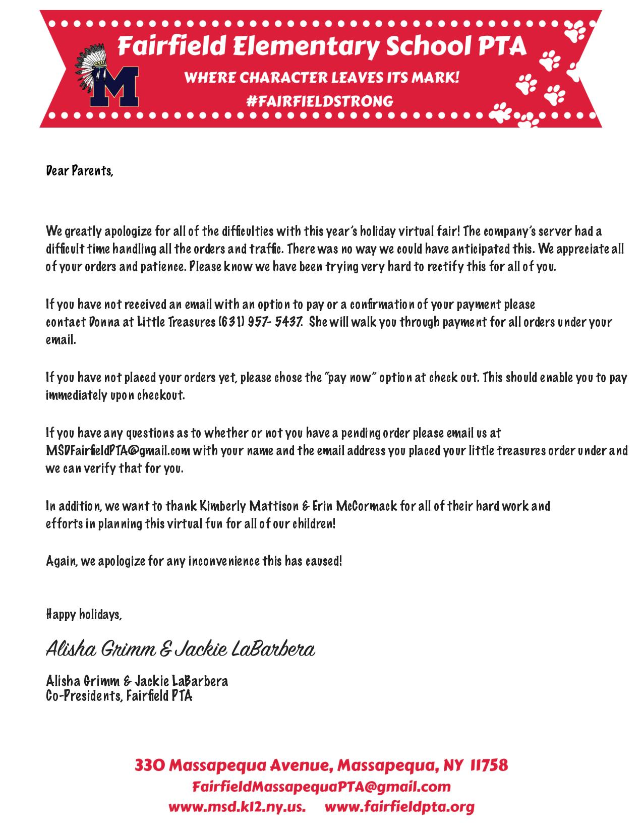 a letter from our Co-President's regarding the Virtual Holiday Fair