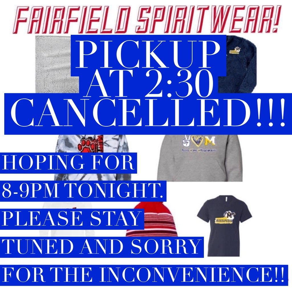 ATTENTION: 2:30 pickup cancelled!!